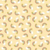 Lewis & Irene - Small Things Mythical & Magical - 5918- Rainbows on Yellow - SM8.2 - Cotton Fabric